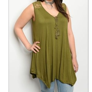 Tops - Plus Size! 🌞Olive green Tunic Tank
